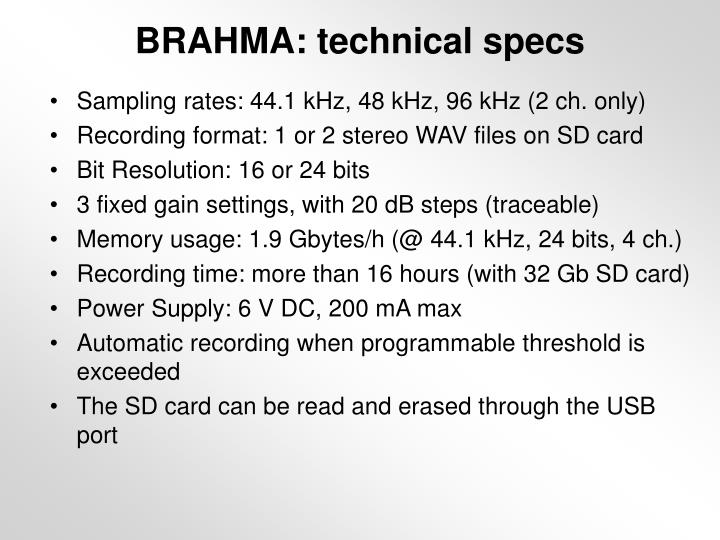 BRAHMA: technical specs