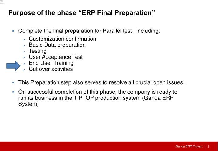 "Purpose of the phase ""ERP Final Preparation"""