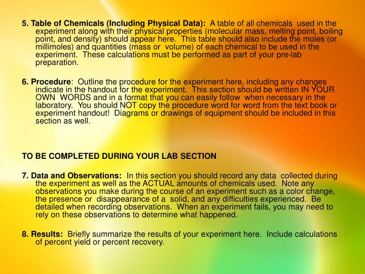 5. Table of Chemicals (Including Physical Data):