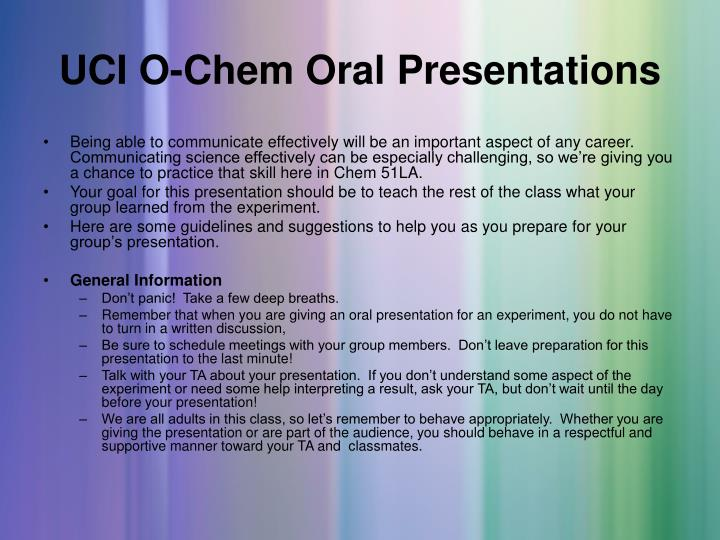 UCI O-Chem Oral Presentations