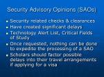 security advisory opinions saos