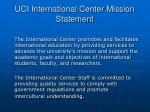 uci international center mission statement