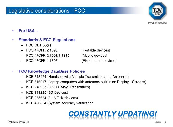Legislative considerations - FCC