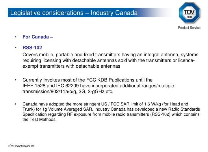 Legislative considerations – Industry Canada