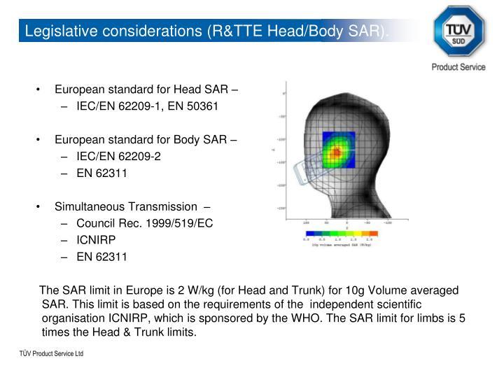Legislative considerations (R&TTE Head/Body SAR).