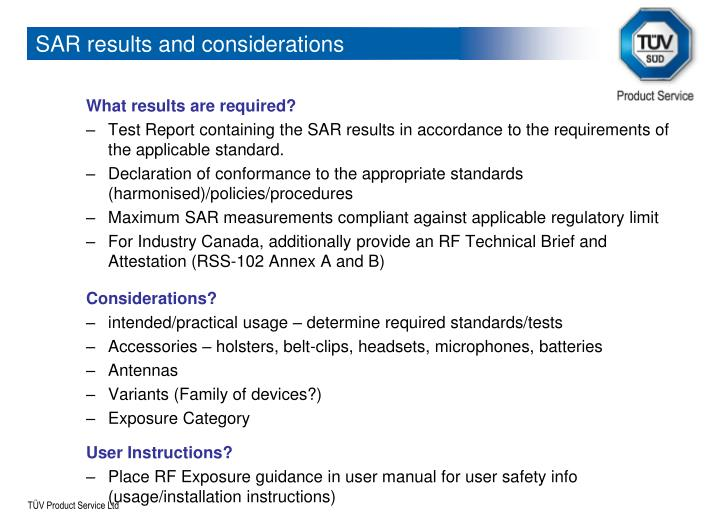 SAR results and considerations