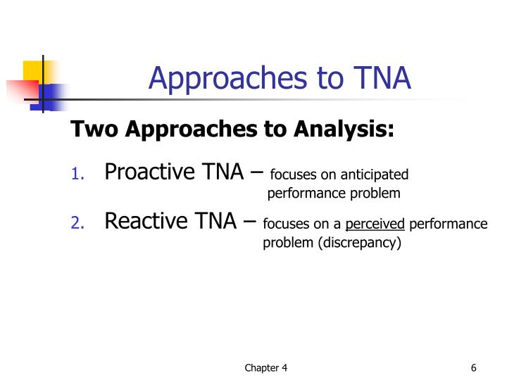 Approaches to TNA