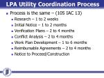 lpa utility coordination process