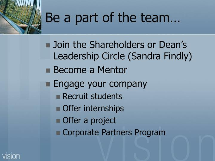 Be a part of the team…