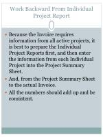 work backward from individual project report
