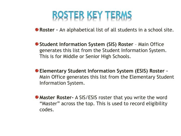 ROSTER KEY TERMS