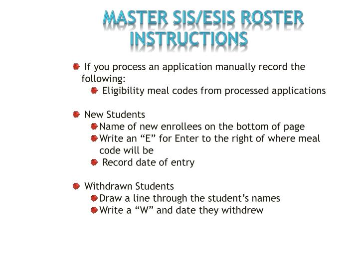 MASTER SIS/ESIS ROSTER INSTRUCTIONS