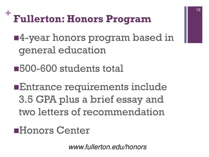 Fullerton: Honors Program