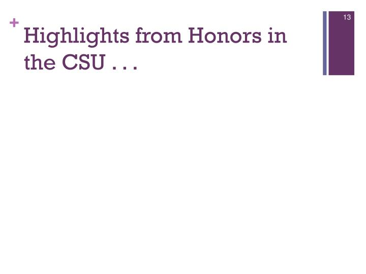 Highlights from Honors in the CSU . . .