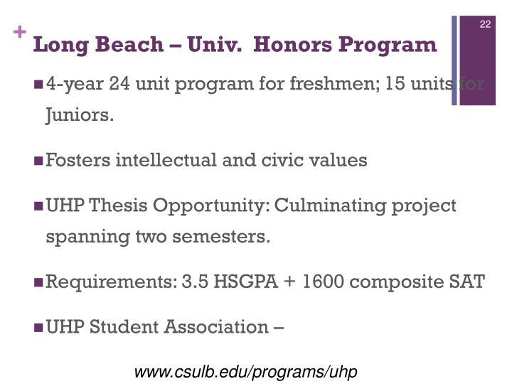 Long Beach – Univ.  Honors Program