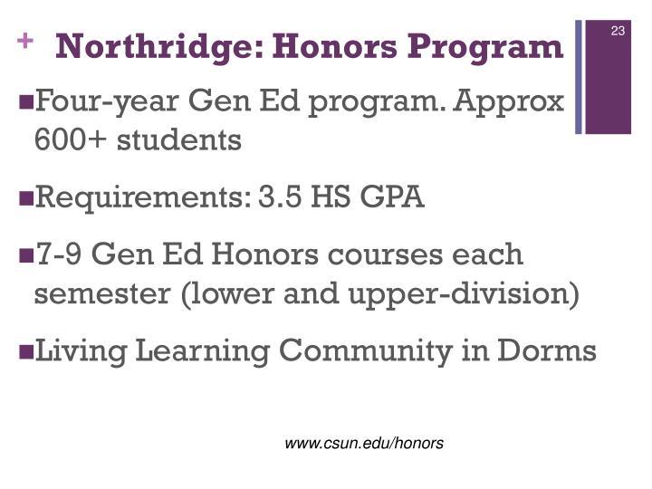 Northridge: Honors Program