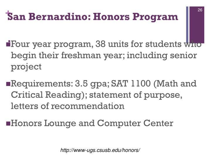 San Bernardino: Honors Program