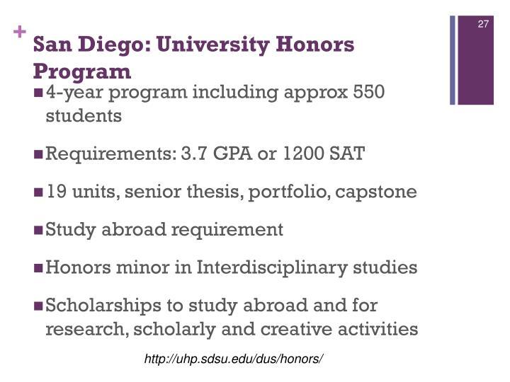 San Diego: University Honors Program