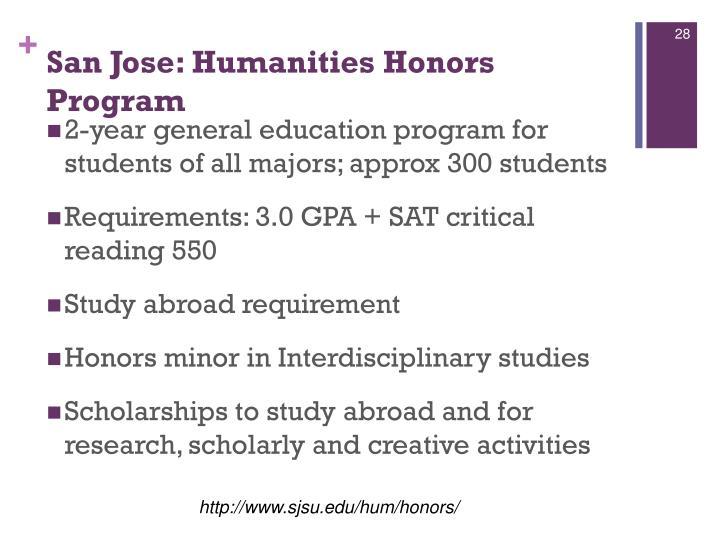 San Jose: Humanities Honors Program