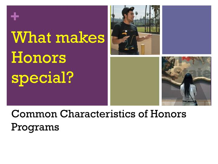 What makes honors special common characteristics of honors programs