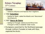 science voyaging 15 th century