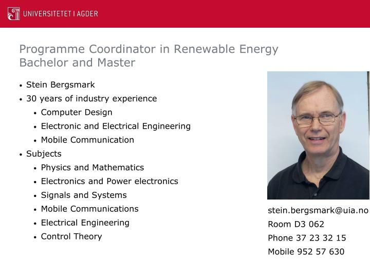 Programme coordinator in renewable energy bachelor and master