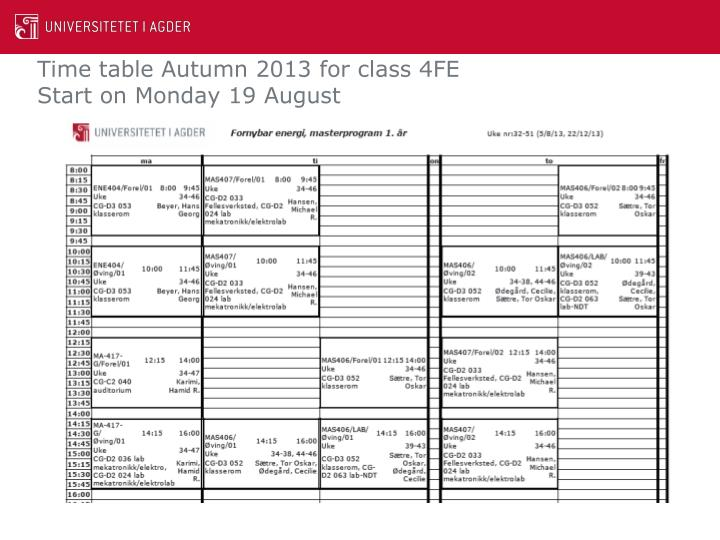 Time table Autumn 2013 for class 4FE