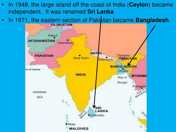 In 1948, the large island off the coast of India (