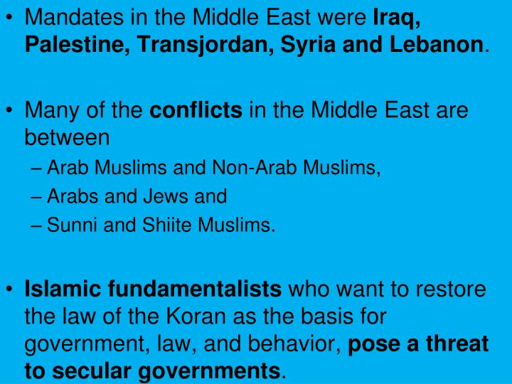 Mandates in the Middle East were