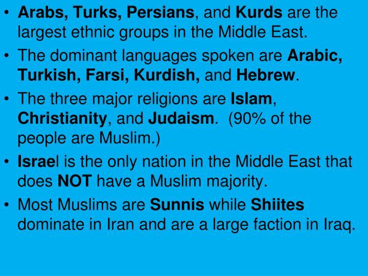 Arabs, Turks, Persians