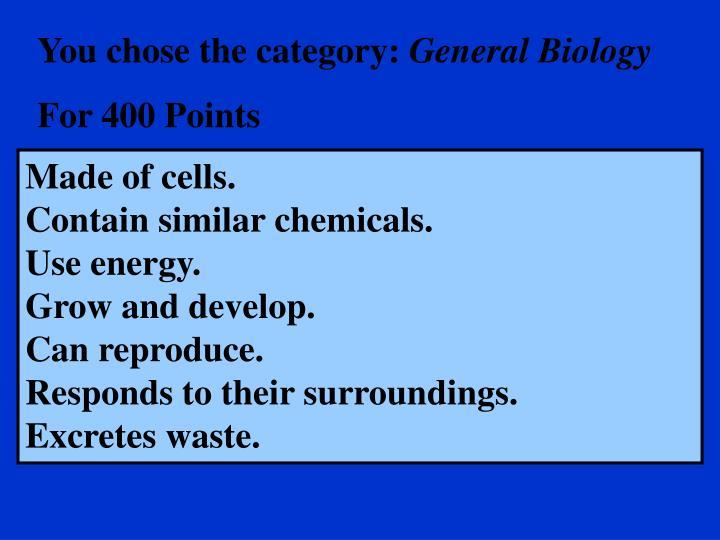 You chose the category: