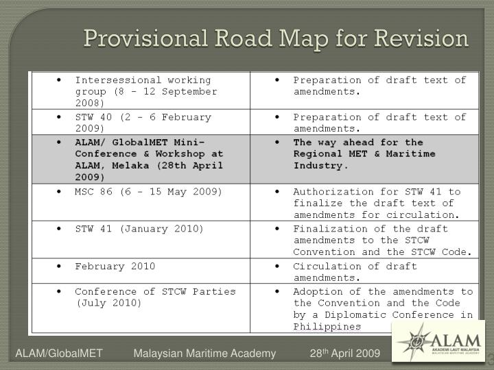 Provisional road map for revision