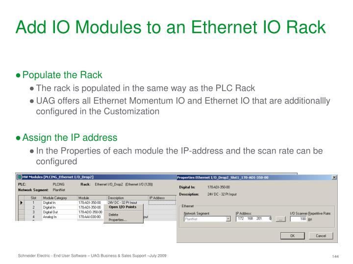 Add IO Modules to an Ethernet IO Rack