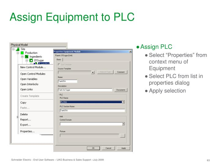 Assign Equipment to PLC