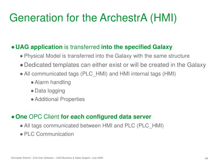 Generation for the ArchestrA (HMI)
