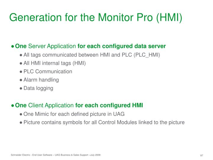 Generation for the Monitor Pro (HMI)