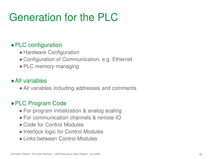 Generation for the PLC