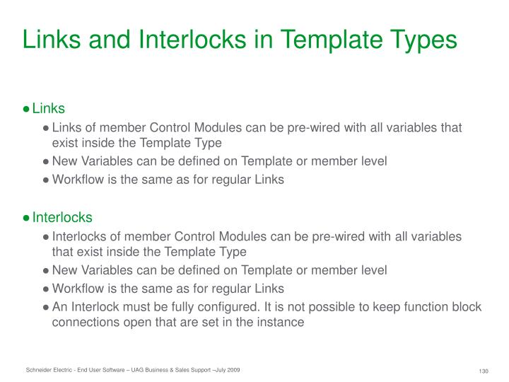 Links and Interlocks in Template Types