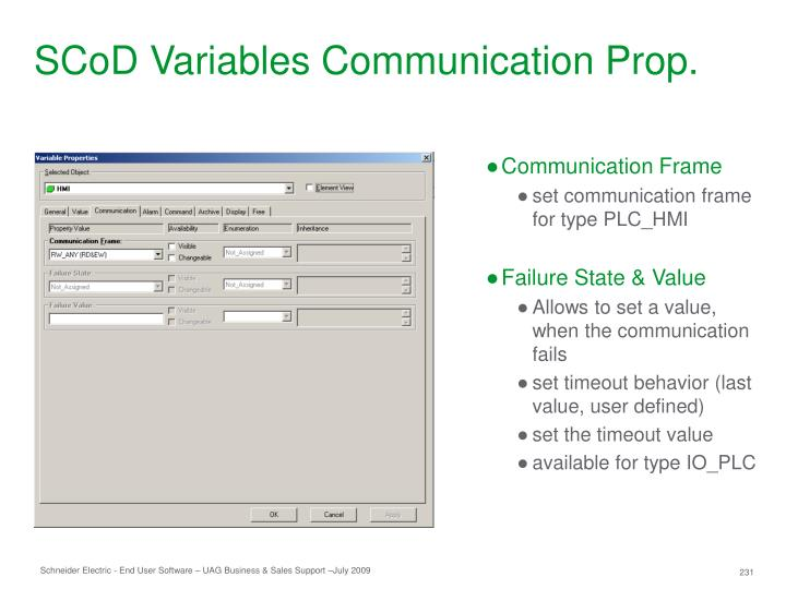 SCoD Variables Communication Prop.
