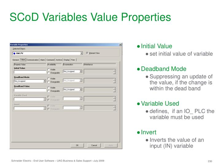 SCoD Variables Value Properties