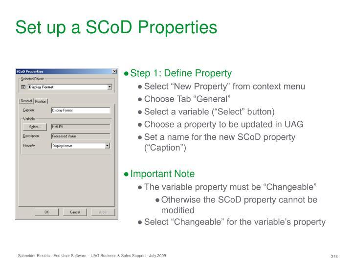 Set up a SCoD Properties