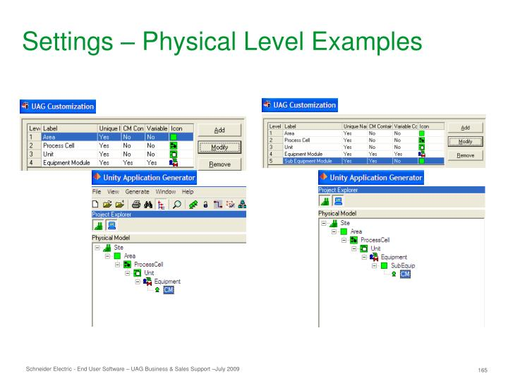 Settings – Physical Level Examples