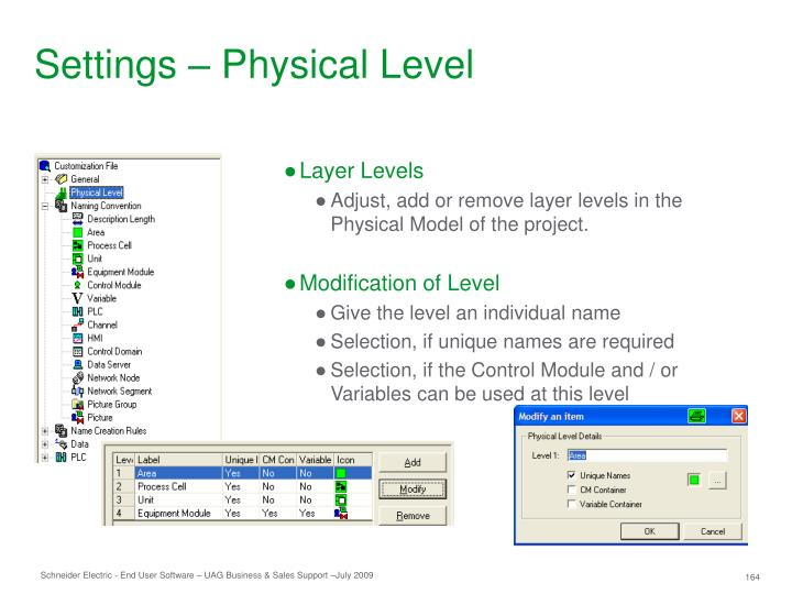 Settings – Physical Level
