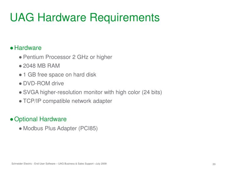UAG Hardware Requirements