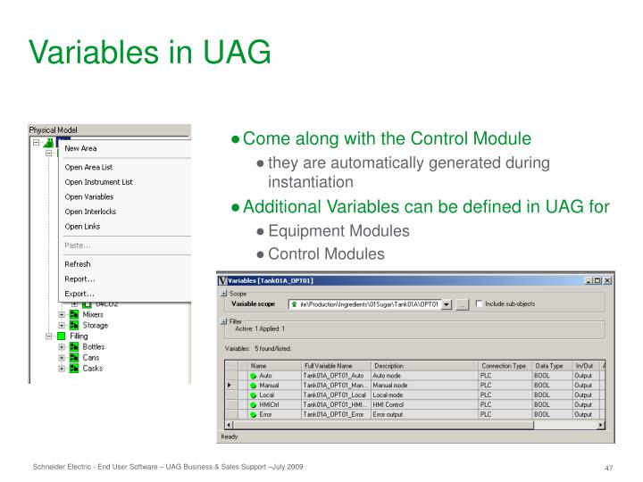 Variables in UAG