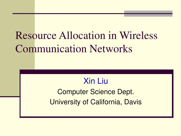 Resource allocation in wireless communication networks