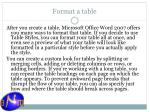format a table
