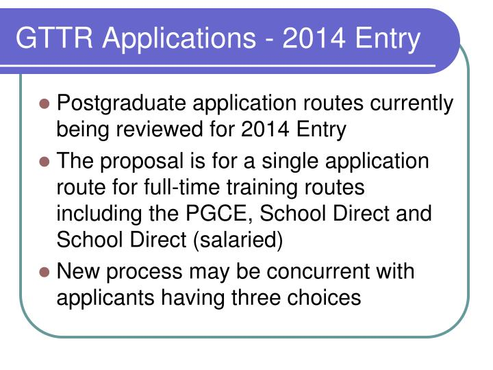 GTTR Applications - 2014 Entry