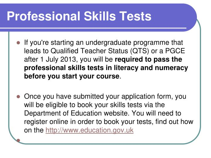 Professional Skills Tests