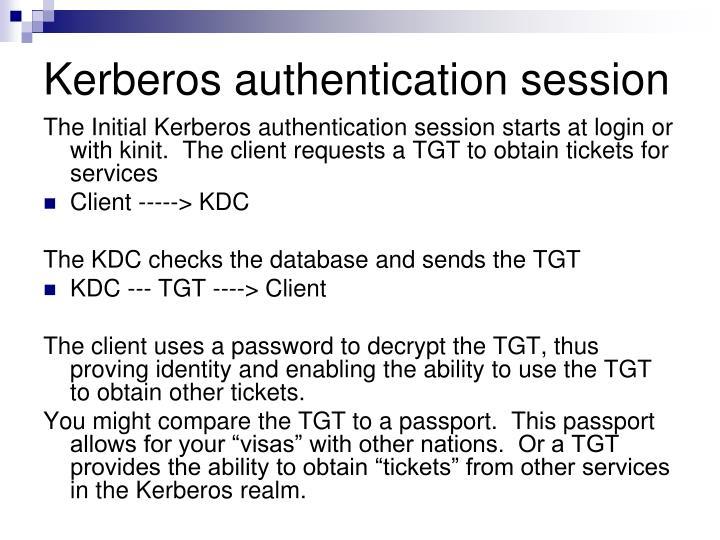 Kerberos authentication session